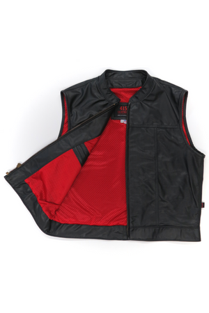 415 Leather Perforated Cowhide Zipper Vest