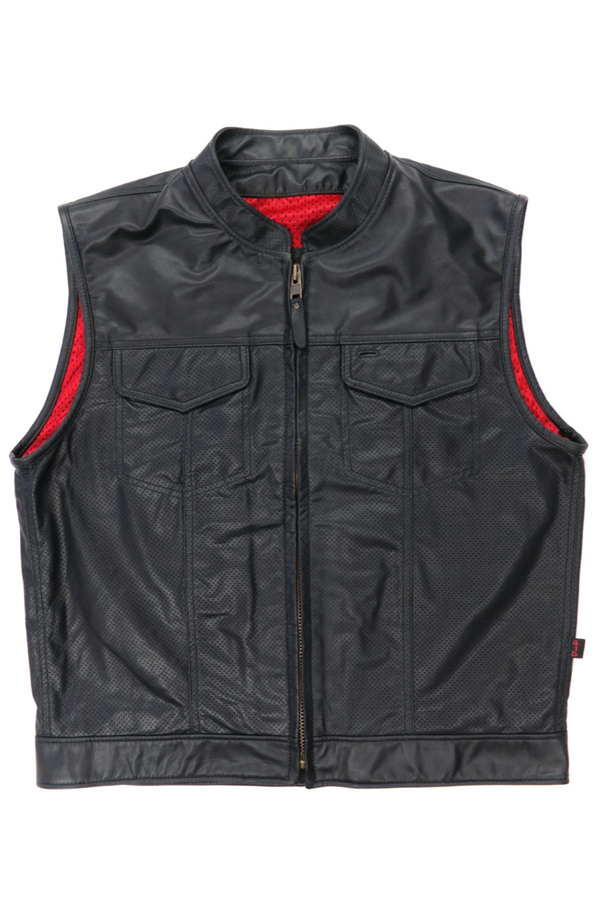 415 Leather Perforated Cowhide Club Style Zipper Vest