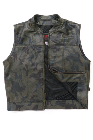 415 Leather Perforated Camouflage Zipper Vest