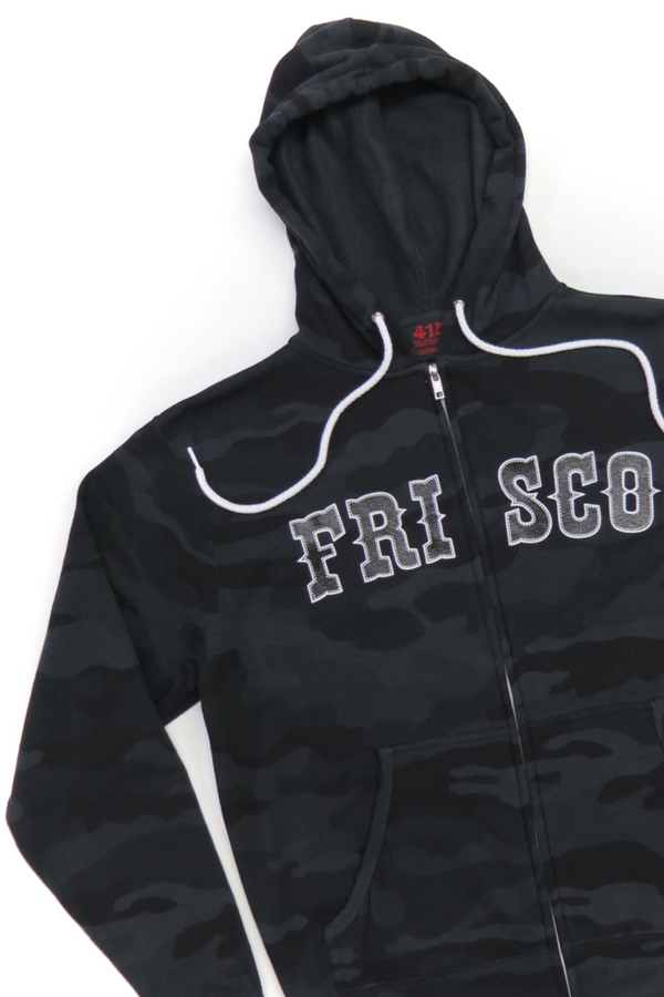 Frisco 415 Black Camo Hooded Zipper Sweatshirt