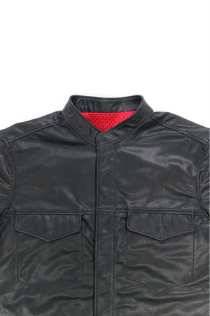 Perforated Long Sleeve Leather Shirt
