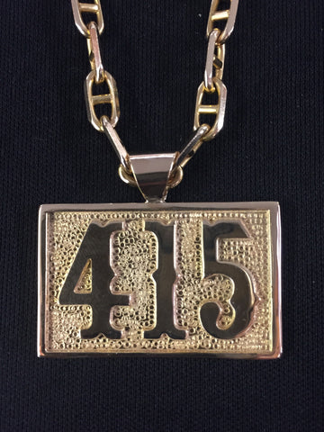 Large 415 Gold Pendant