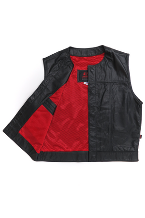 415 Leather Perforated Cowhide Vest with Snaps