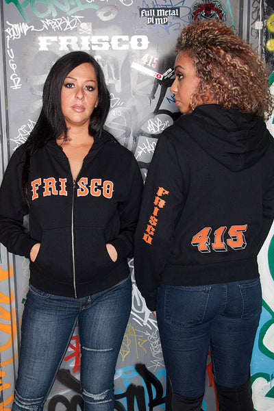 Frisco 415 Black Zip Hoodie with Orange Print