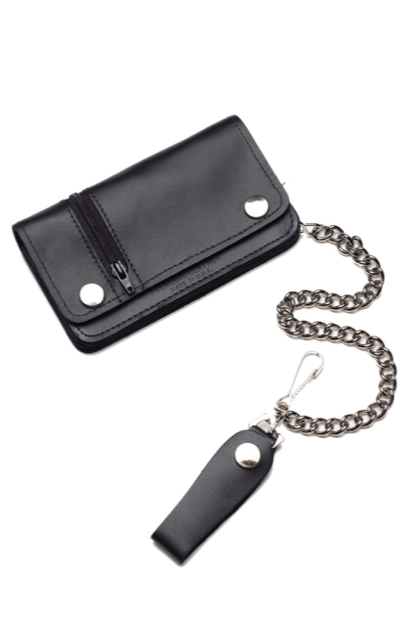 "Classic Chain Leather Wallet 6"" with Zipper"