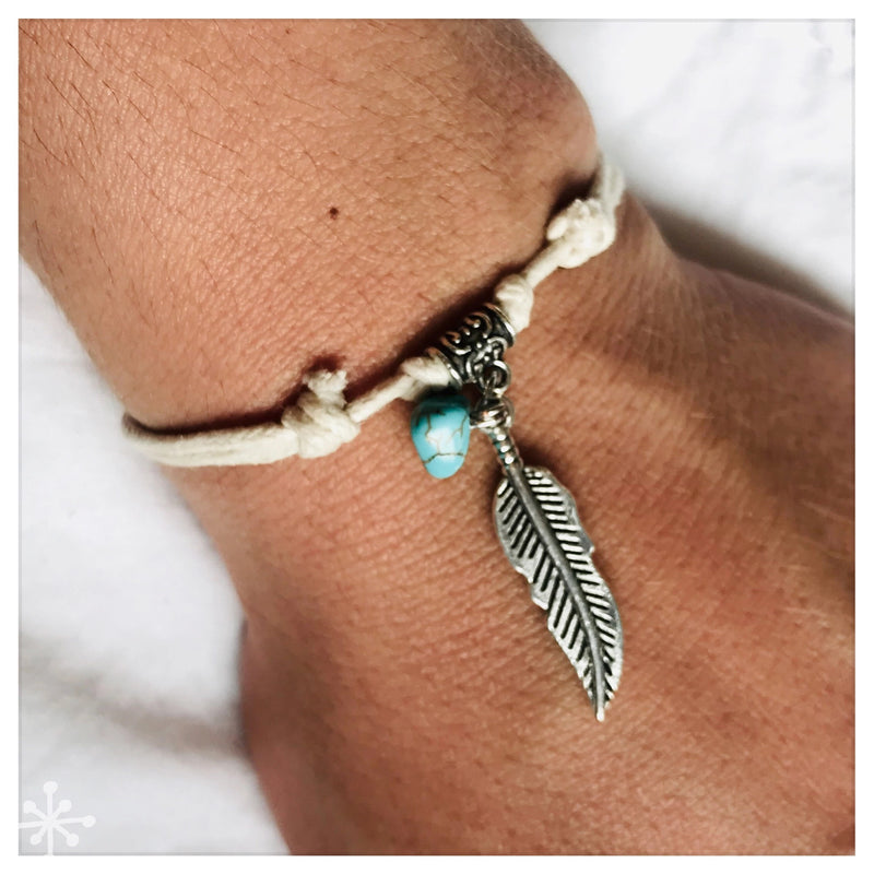 Bracelet Sliding Knots Feather with Turquoise