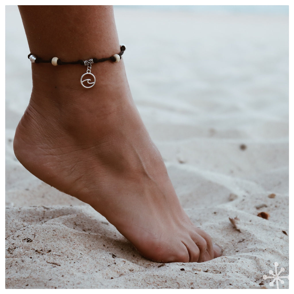 Wave Anklet Black  with Beads