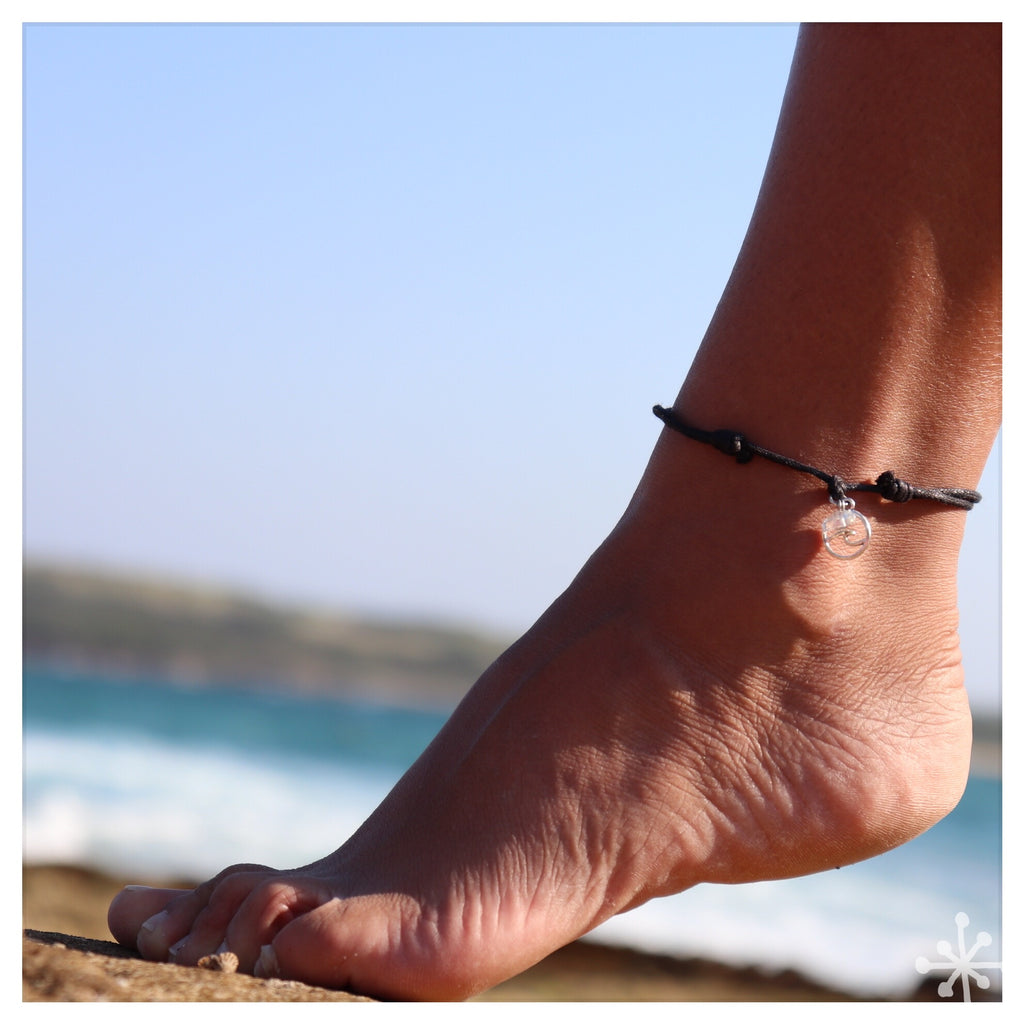 Wave with Sea Opal  Anklet Black
