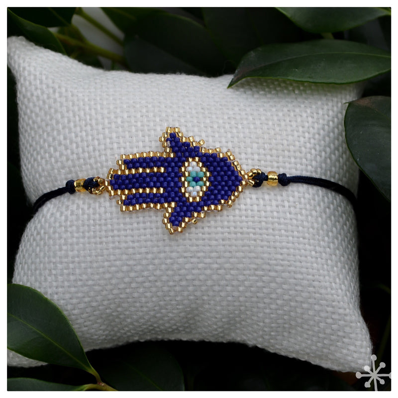 Ethnic Beaded Bracelet - Navy Blue
