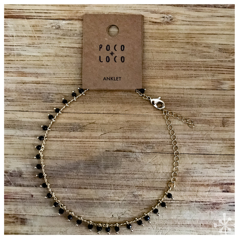 Chain Anklet Gold - Black