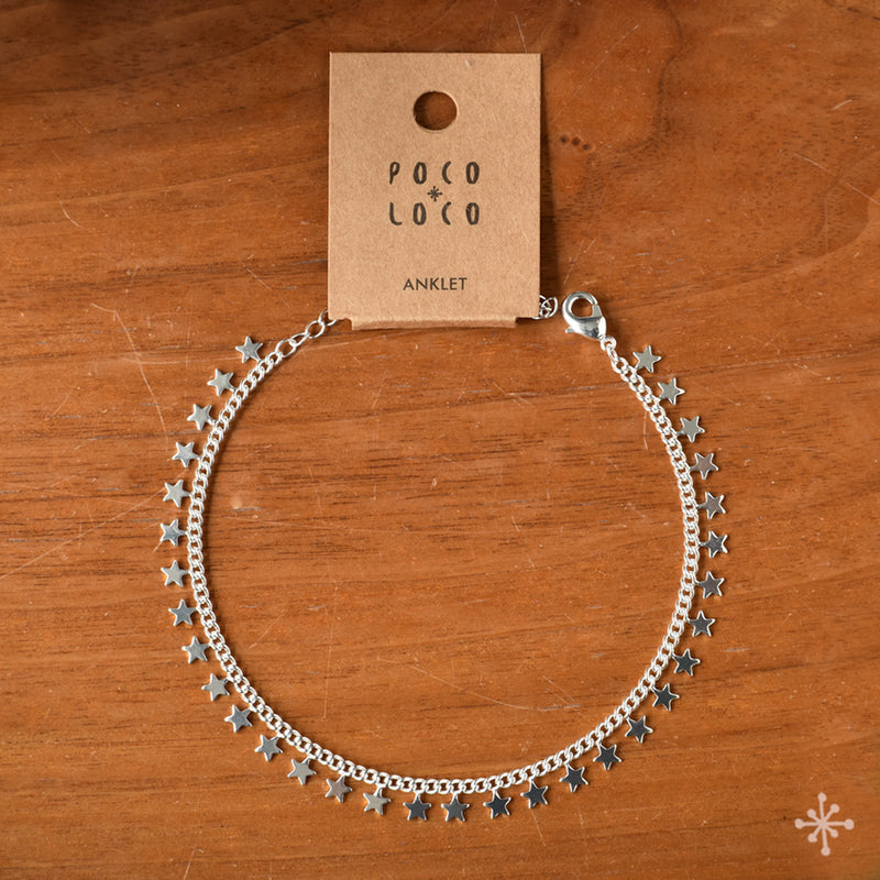 Chain Anklet Silver - Stars