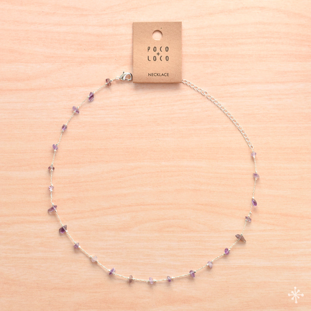 Chain Silver Necklace Amethyst