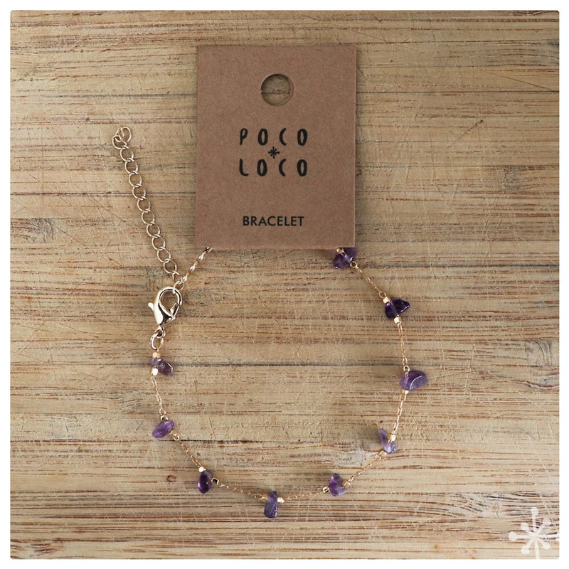 Chain Bracelet Gold plated with Amethyst