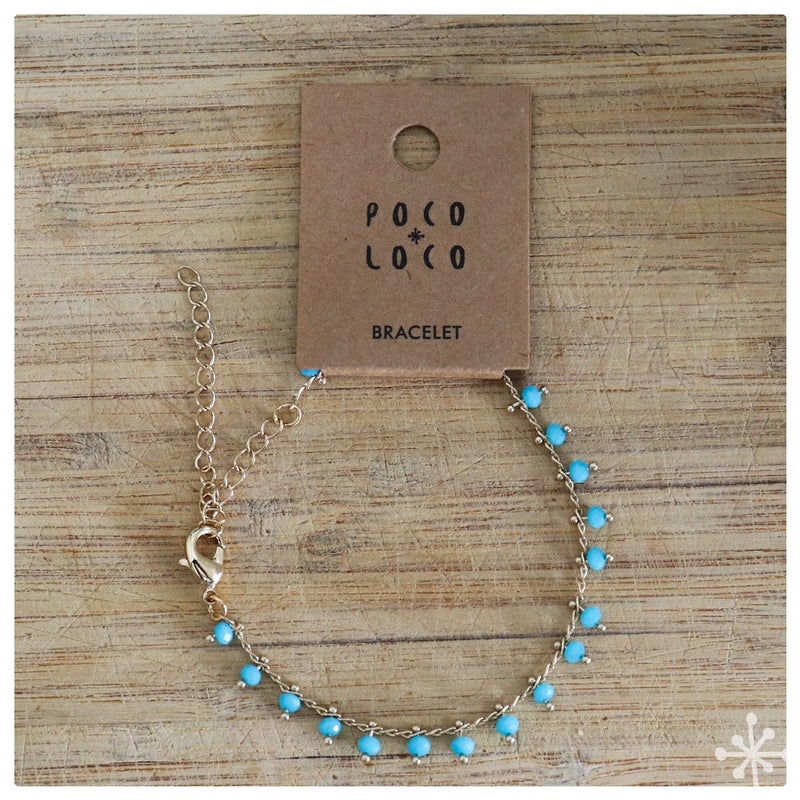 Chain Bracelet Gold Plated with Blue beads