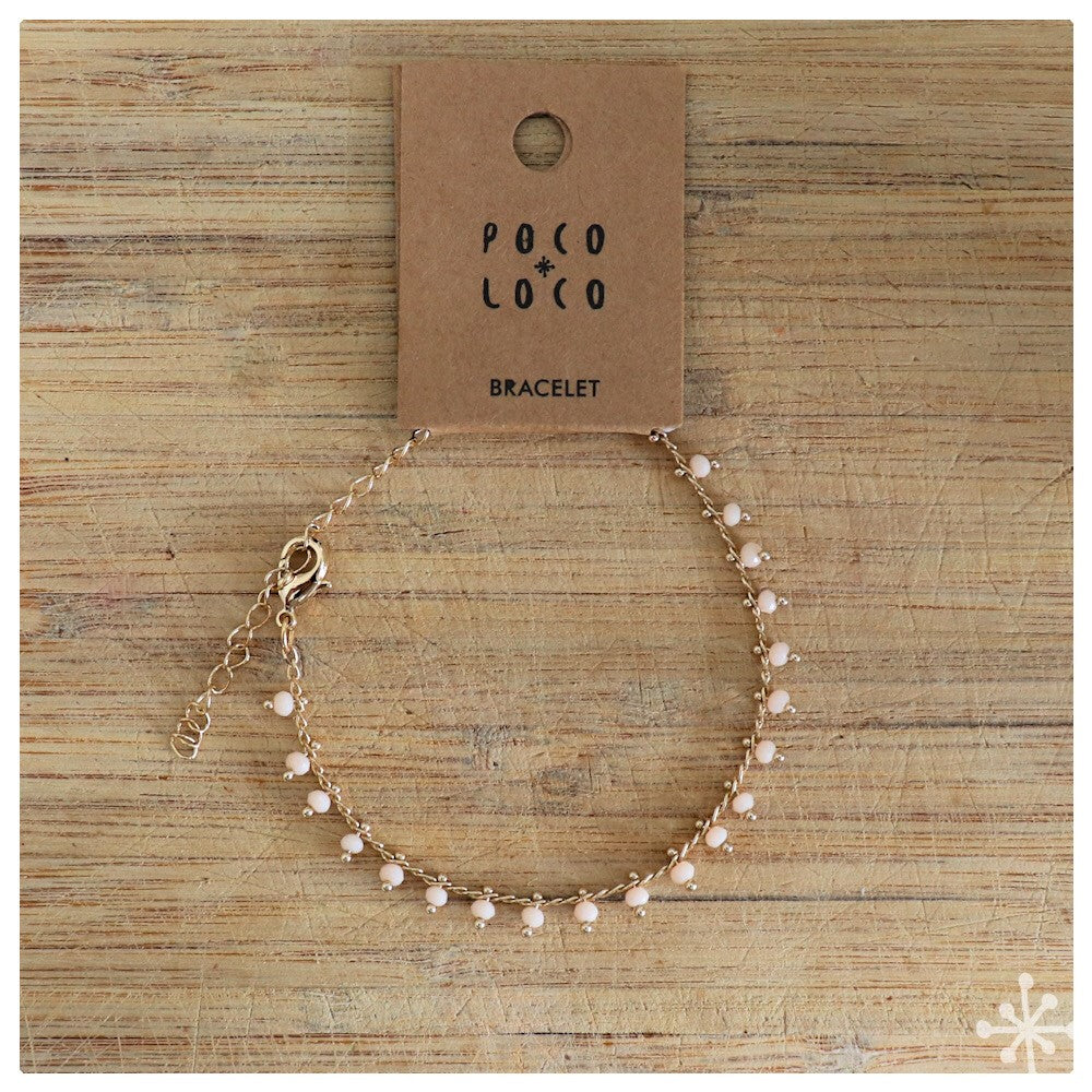 Chain Bracelets Gold plated  with peach colour beads