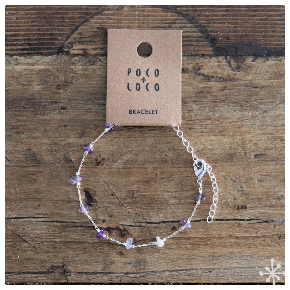 Chain Bracelet Silver plated with Amethyst stones