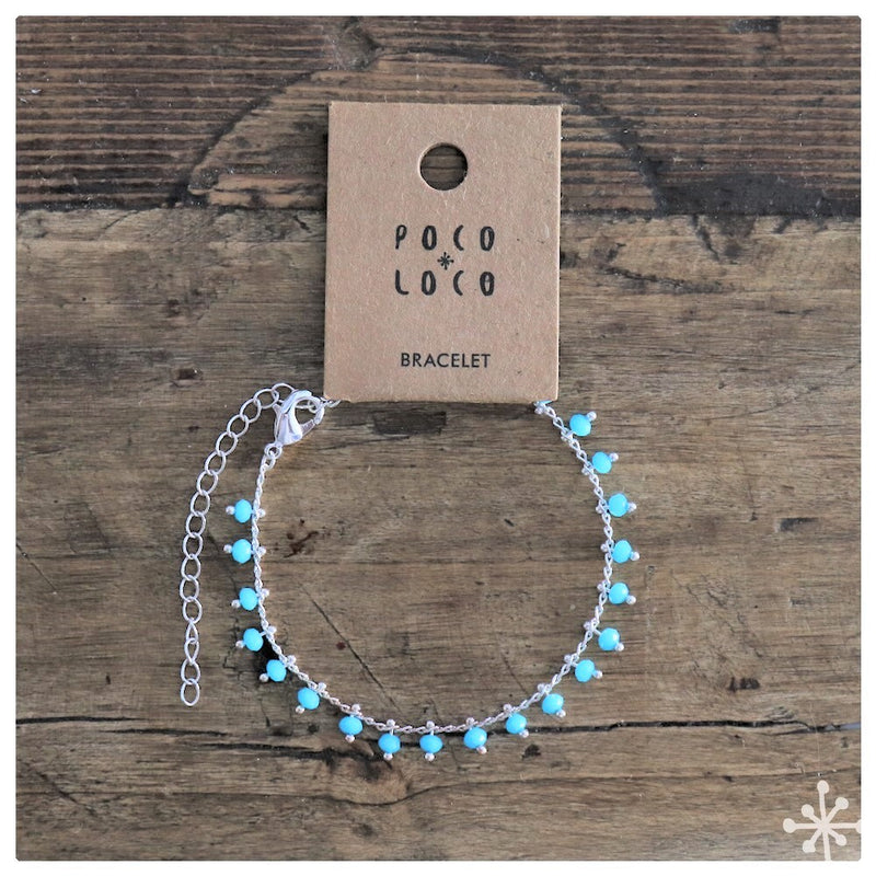 Chain Bracelet Silver plated with blue beads