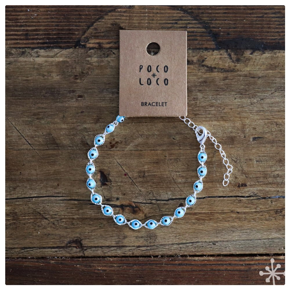 Chain Bracelet silver plated with evil eye beads