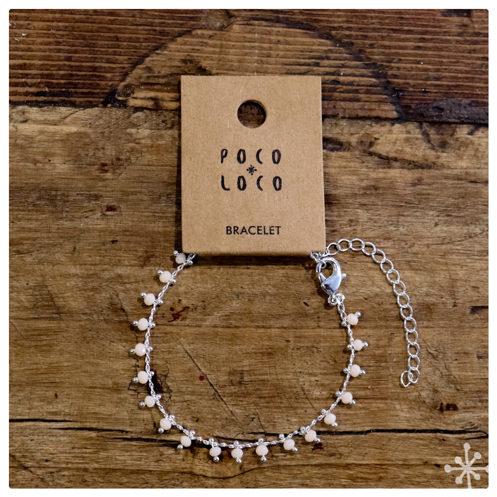 Chain Bracelet Silver plated with peach beads