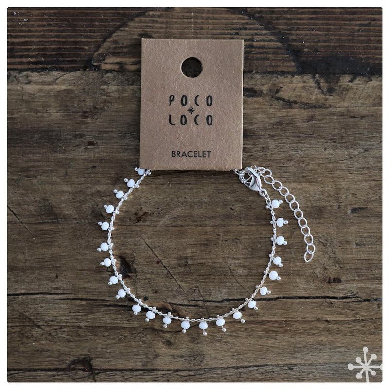 Chain Bracelet silver plated with white beads