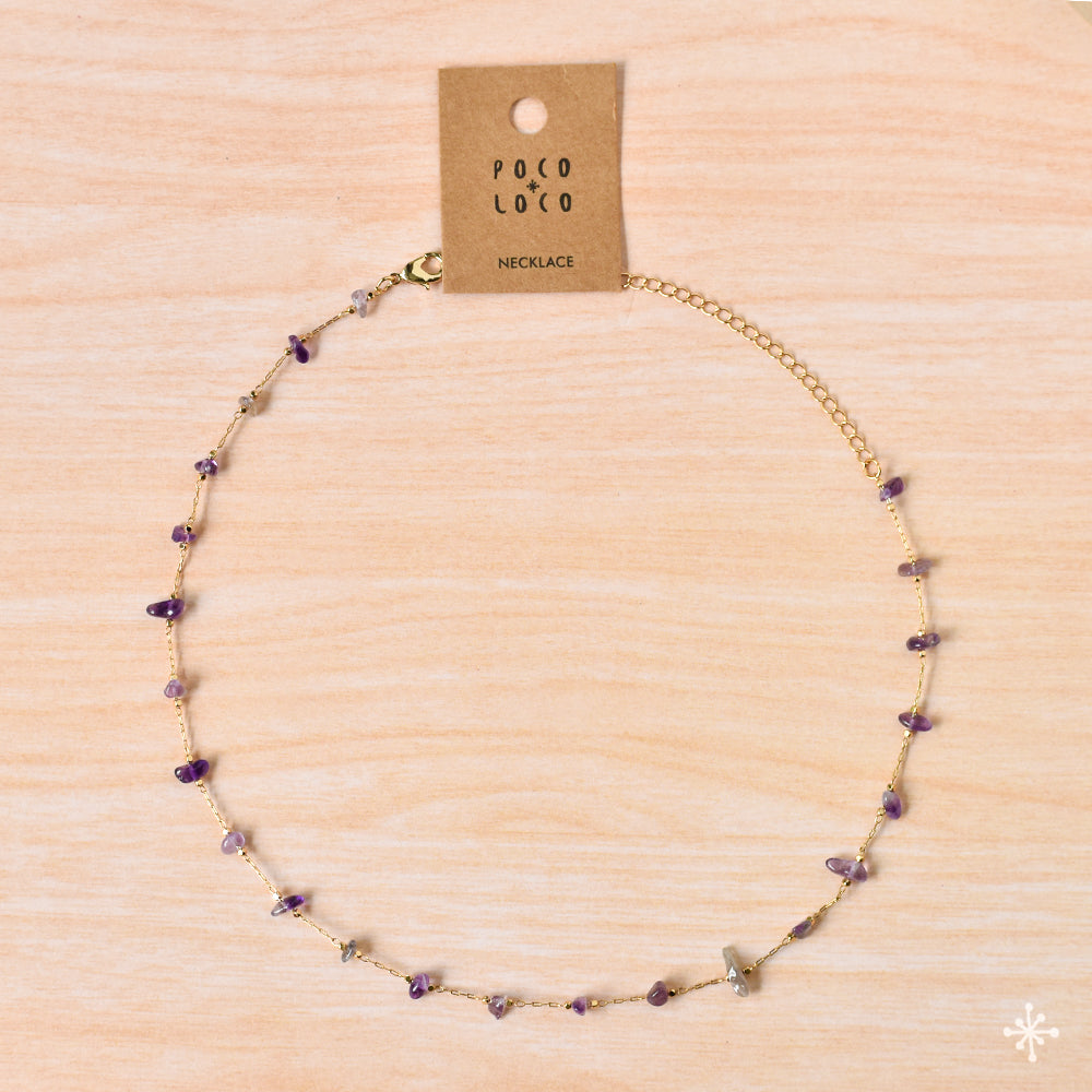 Chain Necklace Gold Amethyst