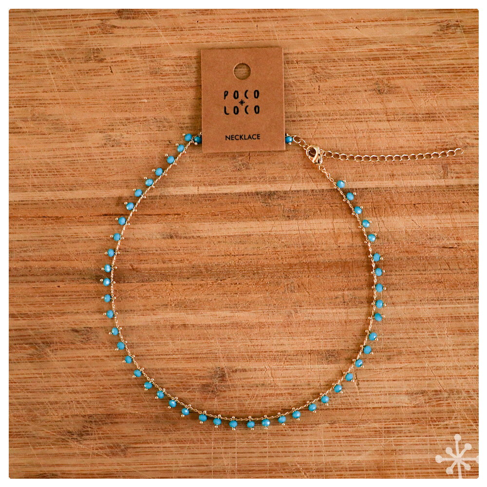 Chain Necklace Gold - Blue