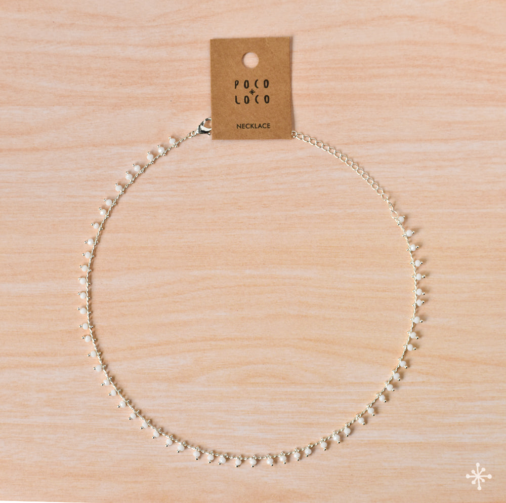 Chain Necklace Silver White