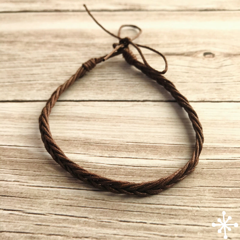 Cotton thin anklet dark brown