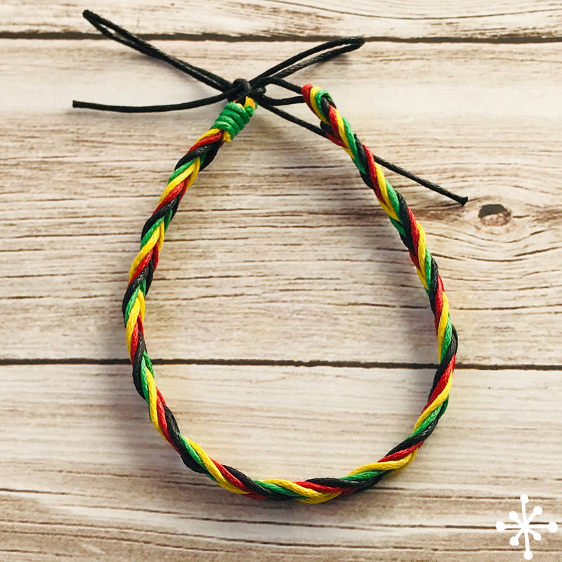 Cotton thin anklet rasta colours