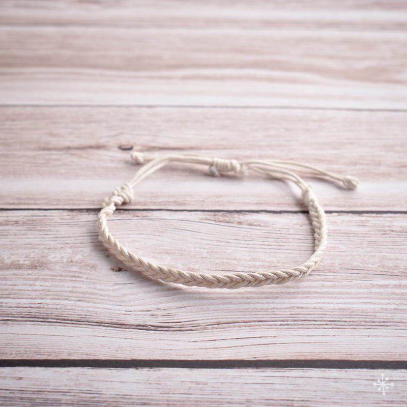 Hand plaited bracelet cotton thin cream