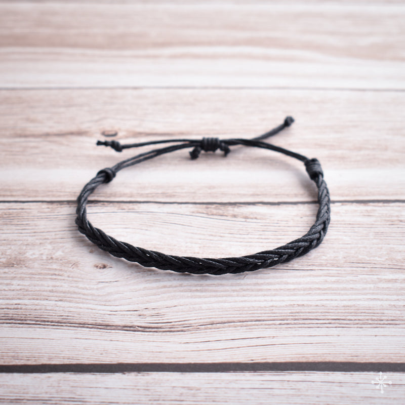 Hand plaited bracelet cotton thin black