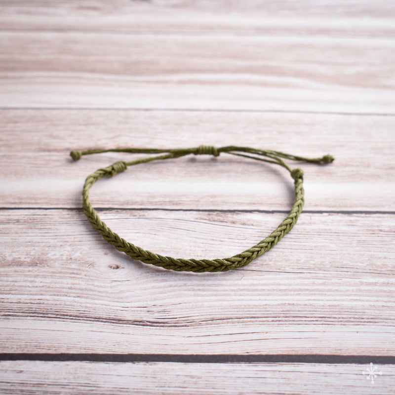 Hand plaited bracelet cotton thin green khaki