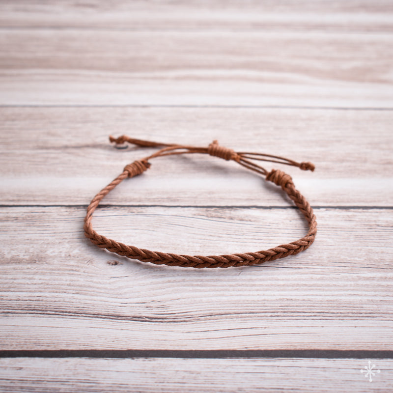 Hand plaited bracelet cotton thin light brown