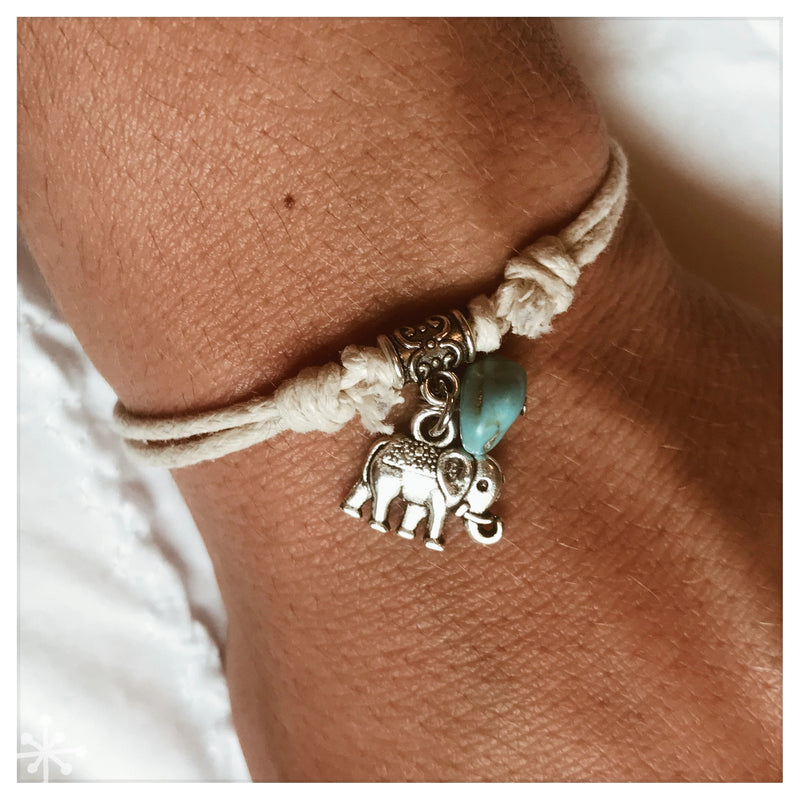 Bracelet Sliding Knots Elephant with turquoise