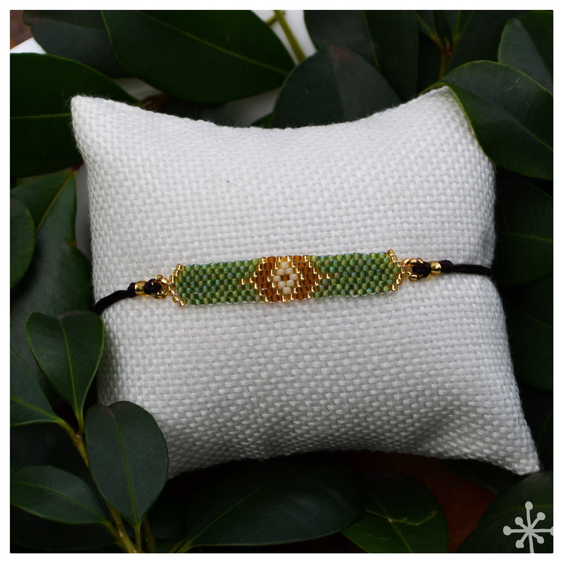 Ethnic Beaded Bracelet - Green Khaki