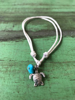 Turtle with Turquoise on Cream Cord Anklet