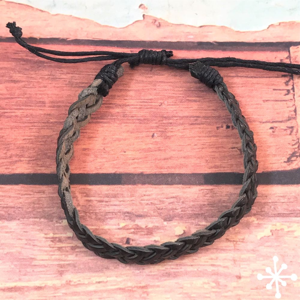 Leather Braclelet Black, Hand plaited Cacique