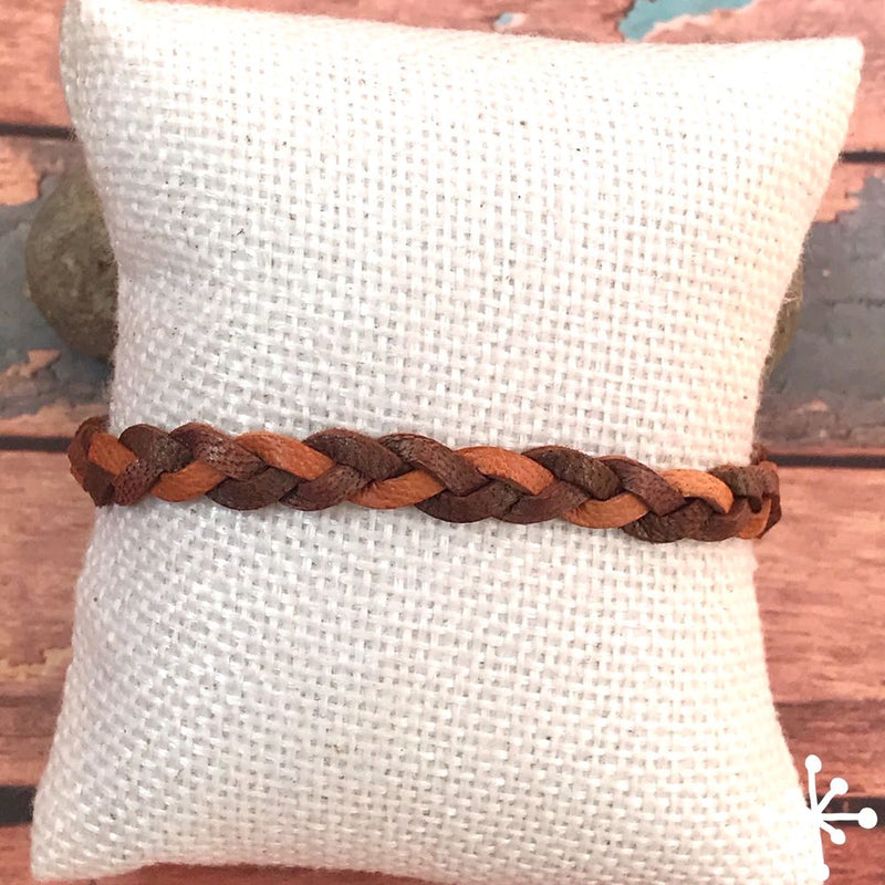 Mixed colour leather bracelet Light Brown / Dark Brown - Toba