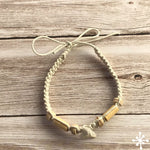 Macrame anklet shark tooth anklet cream