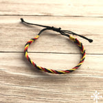 Hand plaited bracelet cotton thin aboriginal