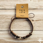 Macrame knots Shark tooth anklet dark brown
