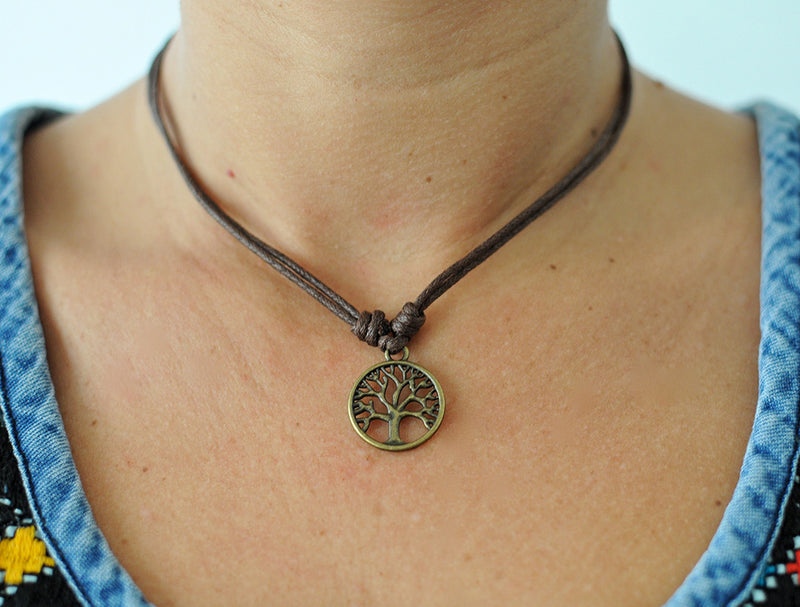 Tree of life pendant Brown cord
