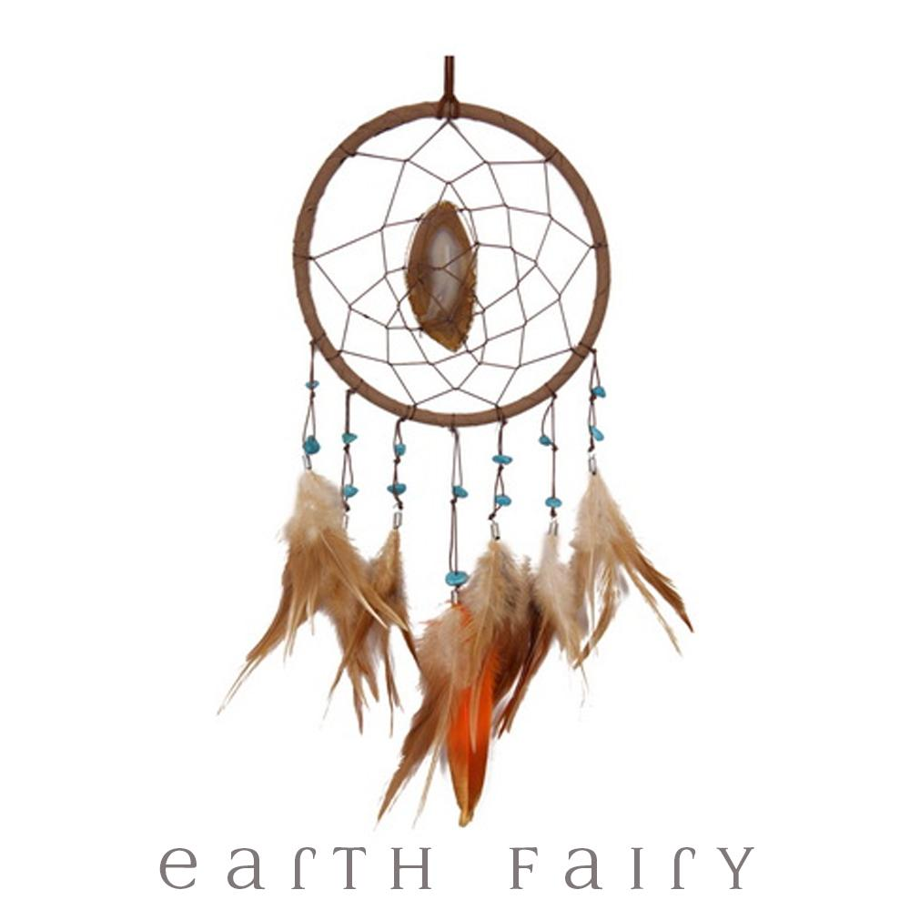 Agate Dream Catcher with Feathers - Brown - 39cm L | Dreamcatchers - Australia | Earth Fairy
