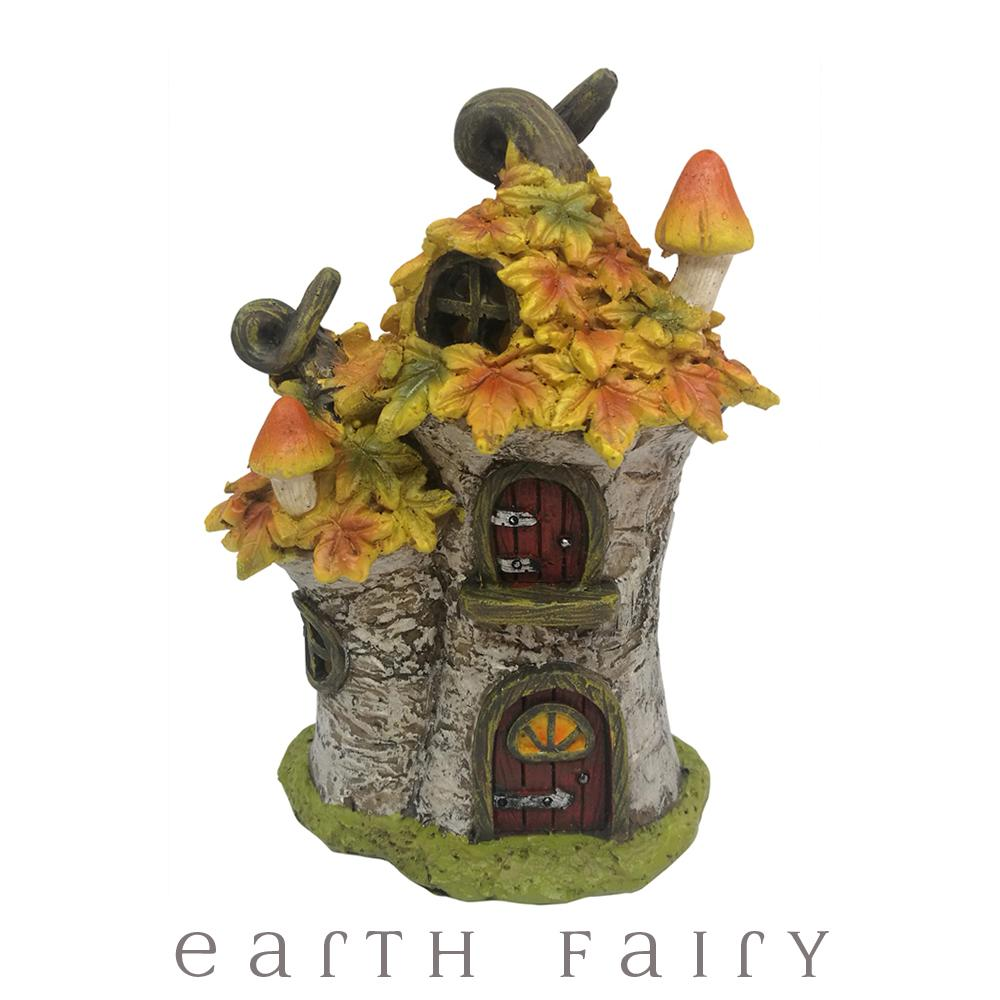 Autumn Leaf Tree House - LED Light Up Fairy House