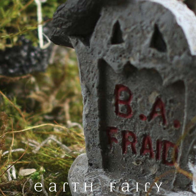 Miniature B. A. Fraid Tombstone, close up view, from The Fairy Garden Miniature Halloween Collection by Earth Fairy