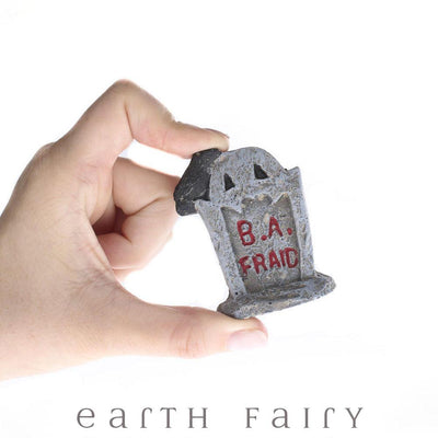 Miniature B. A. Fraid Tombstone, being held in hand, from The Fairy Garden Miniature Halloween Collection by Earth Fairy