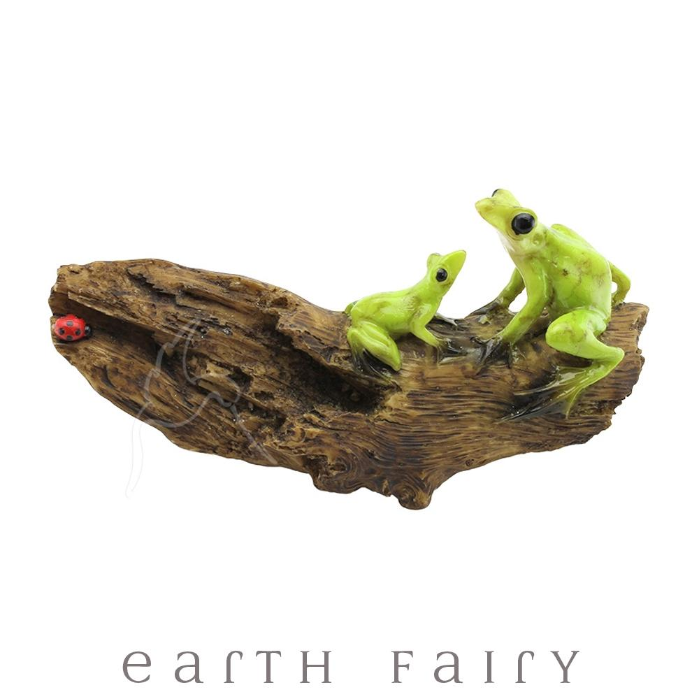 Baby & Mama Frog on a Log | Fairy Gardens & Collectible Miniatures | Earth Fairy