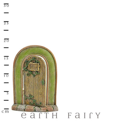 """Believe"" Opening Fairy Door, Shown with Scale Ruler, from The Miniature Fairy Garden Door Collection by Earth Fairy"