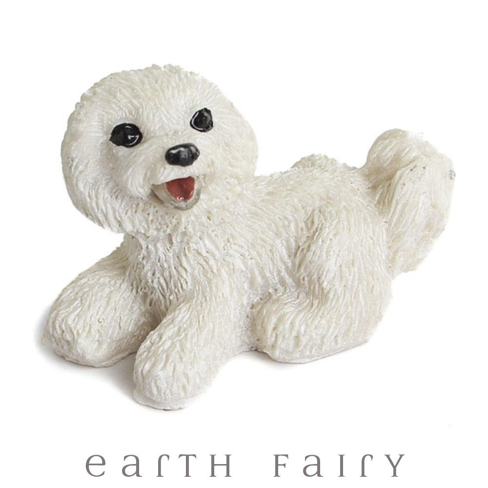 MMiniature Bichon Frise Dog from The Fairy Garden Miniature Animal Collection by Earth Fairy