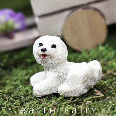 MMiniature Bichon Frise Dog, shown in a garden setting,  from The Fairy Garden Miniature Animal Collection by Earth Fairy